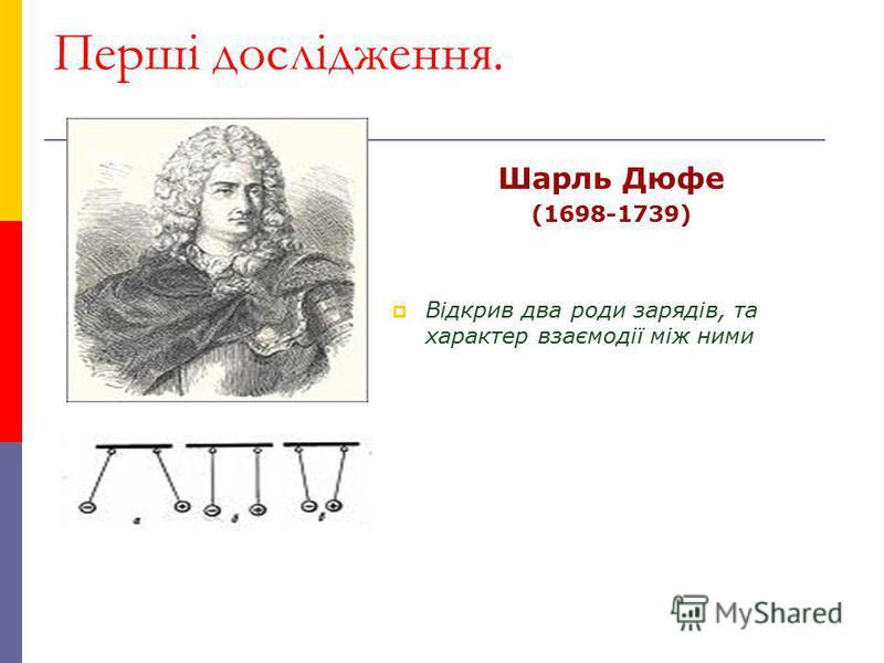 Перші дослідження. Шарль Дюфе (1698-1739) Відкрив два роди зарядів, та характер взаємодії між ними