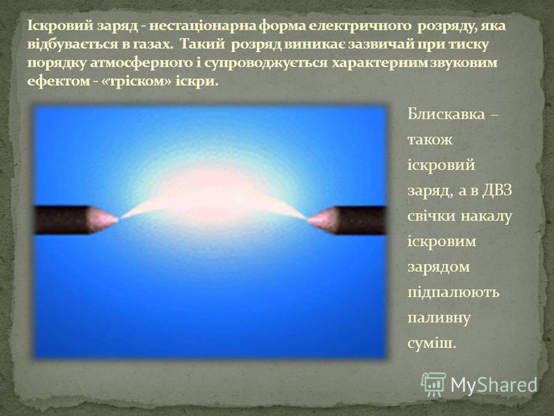 Блискавка – також іскровий заряд, а в ДВЗ свічки накалу іскровим зарядом підпалюють паливну суміш.