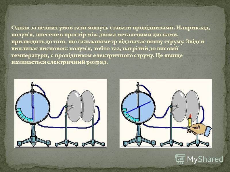 Однак за певних умов гази можуть ставати провідниками. Наприклад, полум'я, внесене в простір між двома металевими дисками, призводить до того, що гальванометр відзначає появу струму. Звідси випливає висновок: полум'я, тобто газ, нагрітий до високої т