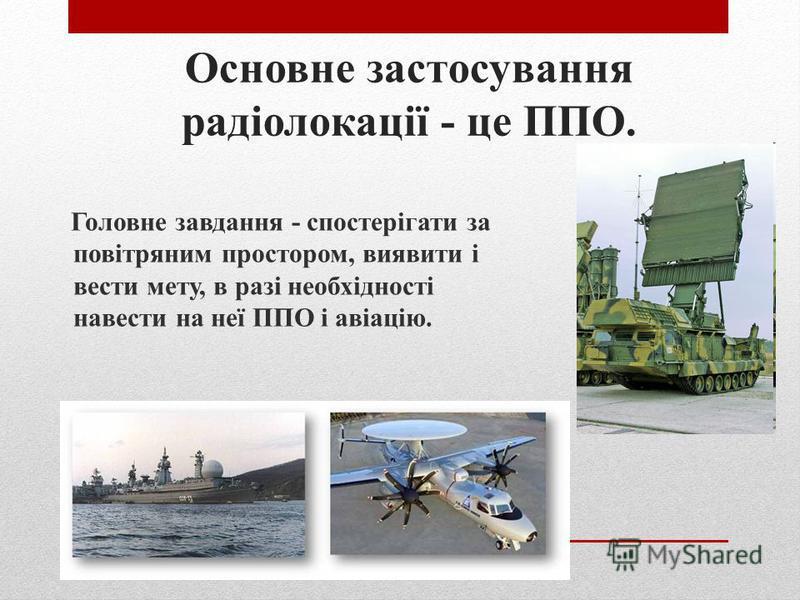 Військова справа, цивільна авіація та космічні дослідження Застосування радіолокації Метеорологічне забезпечення польотів, управління повітряним рухом, забезпечення ближньої і дальньої радіонавігації, радіолокаційне забезпечення посадки повітряних су
