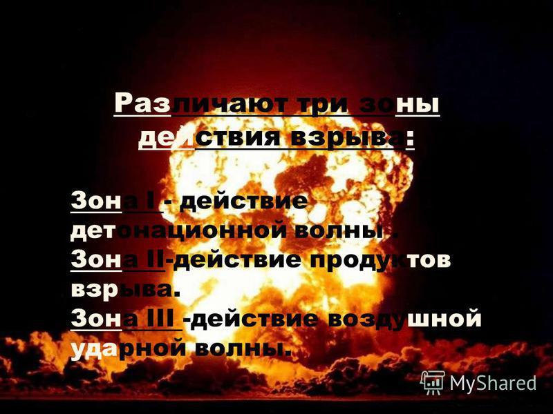 Различают три зоны действия взрыва: Зона I - действие детонационной волны. Зона II-действие продуктов взрыва. Зона III -действие воздушной ударной волны.