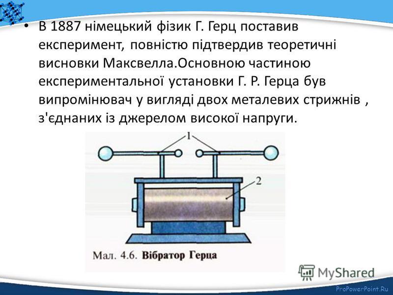 ProPowerPoint.Ru Якщо в електричне поле між двома паралельними пластинками, приєднаними до генератора змінної напруги, внести тороїдальну котушку, то вимірювальний прилад, приєднаний до неї, виявить змінну ЕРС, частота якої відповідатиме частоті змін