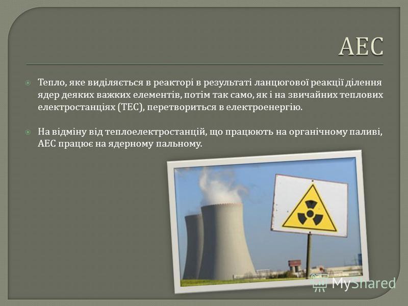 Тепло, яке виділяється в реакторі в результаті ланцюгової реакції ділення ядер деяких важких елементів, потім так само, як і на звичайних теплових електростанціях ( ТЕС ), перетвориться в електроенергію. На відміну від теплоелектростанцій, що працюют