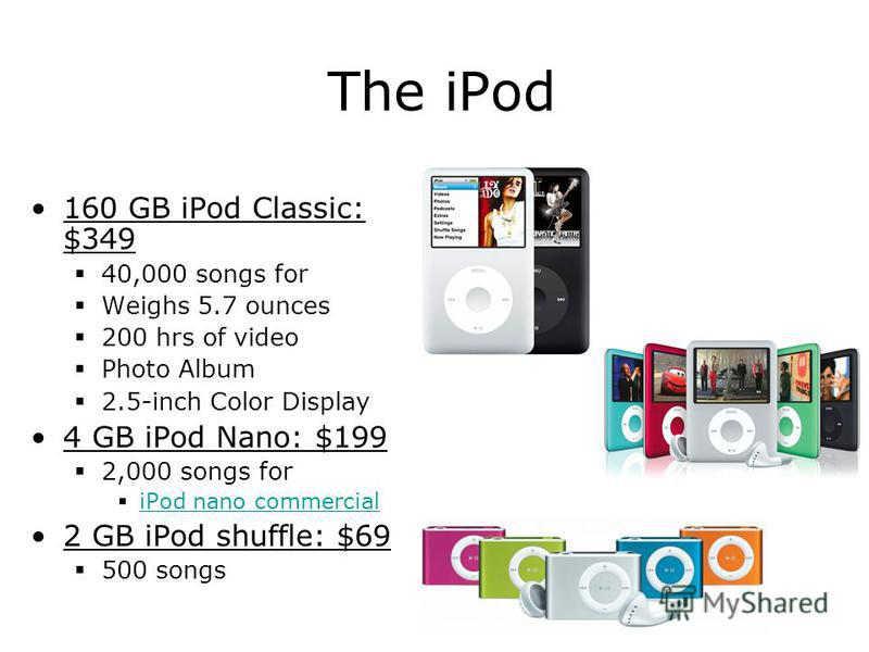 The iPod 160 GB iPod Classic: $349 40,000 songs for Weighs 5.7 ounces 200 hrs of video Photo Album 2.5-inch Color Display 4 GB iPod Nano: $199 2,000 songs for iPod nano commercial 2 GB iPod shuffle: $69 500 songs