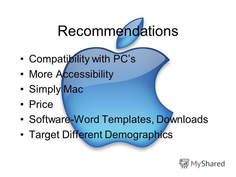 Recommendations Compatibility with PCs More Accessibility Simply Mac Price Software-Word Templates, Downloads Target Different Demographics