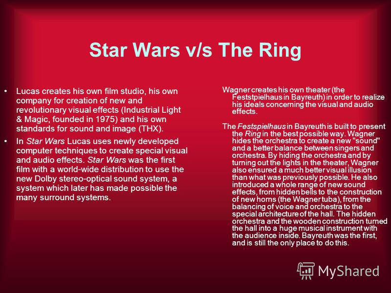Star Wars v/s The Ring Lucas creates his own film studio, his own company for creation of new and revolutionary visual effects (Industrial Light & Magic, founded in 1975) and his own standards for sound and image (THX). In Star Wars Lucas uses newly