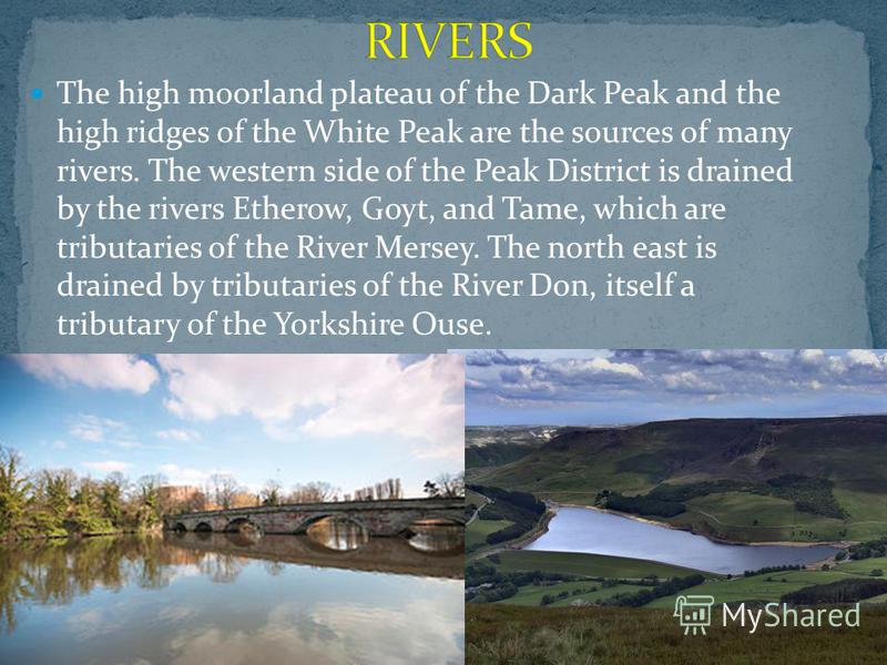 The high moorland plateau of the Dark Peak and the high ridges of the White Peak are the sources of many rivers. The western side of the Peak District is drained by the rivers Etherow, Goyt, and Tame, which are tributaries of the River Mersey. The no