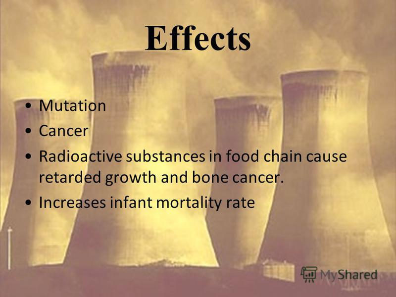 Effects Mutation Cancer Radioactive substances in food chain cause retarded growth and bone cancer. Increases infant mortality rate