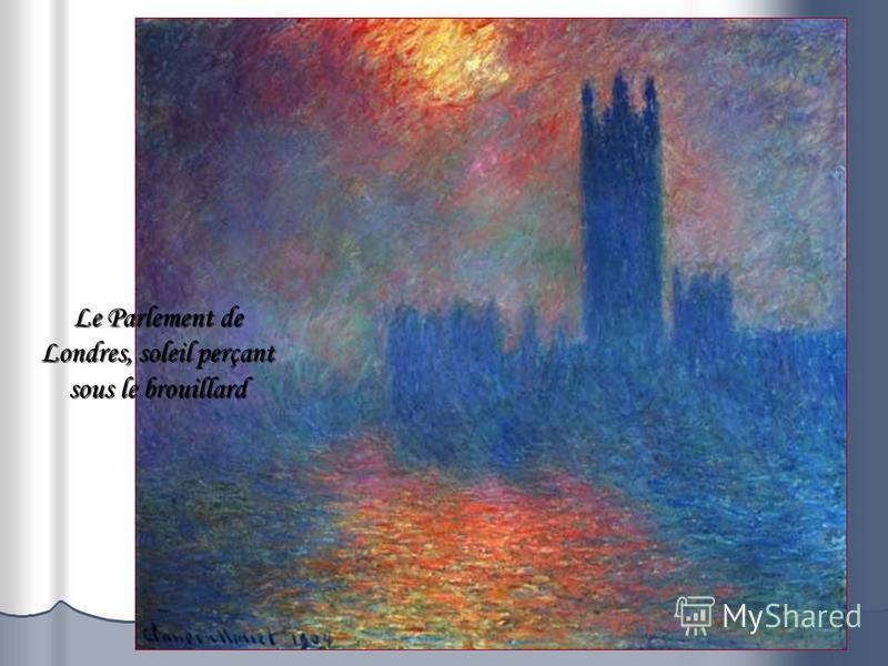 Le Parlement de Londres, soleil perçant sous le brouillard