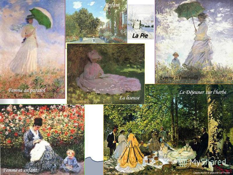 Femme au parasol Enfant Femme et enfant La Pie Femme à l'ombrelle Le Déjeuner sur l'herbe La liseuse