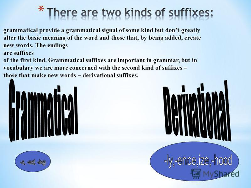 grammatical provide a grammatical signal of some kind but dont greatly alter the basic meaning of the word and those that, by being added, create new words. The endings are suffixes of the first kind. Grammatical suffixes are important in grammar, bu