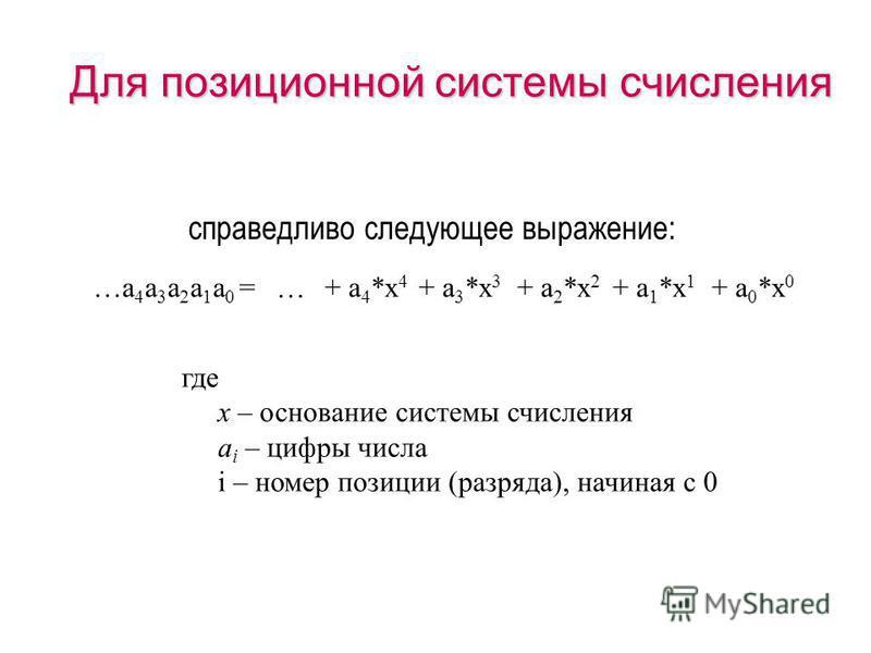 (c) Попова О.В., AME, Красноярск, 2005103 Позиционная система счисления способ записи чисел цифровыми знаками, где значение каждой входящей в число цифры зависит от ее положения (позиции=разряда). способ записи чисел цифровыми знаками, где значение к