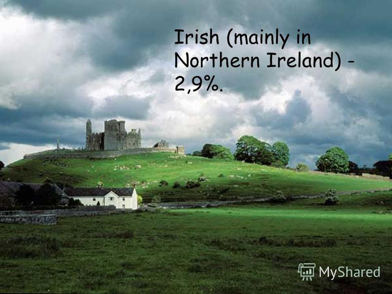 Irish (mainly in Northern Ireland) - 2,9%.