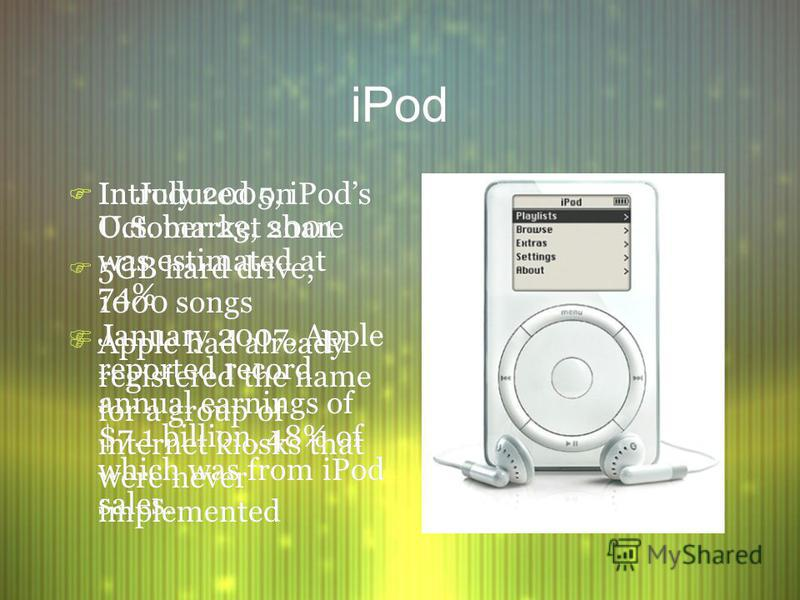 iPod F Introduced on October 23, 2001 F 5GB hard drive; 1000 songs F Apple had already registered the name for a group of internet kiosks that were never implemented F Introduced on October 23, 2001 F 5GB hard drive; 1000 songs F Apple had already re