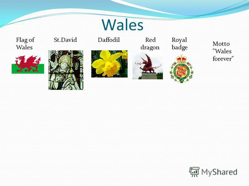 Wales Flag of Wales St.DavidDaffodil Red dragon Royal badge Motto Wales forever