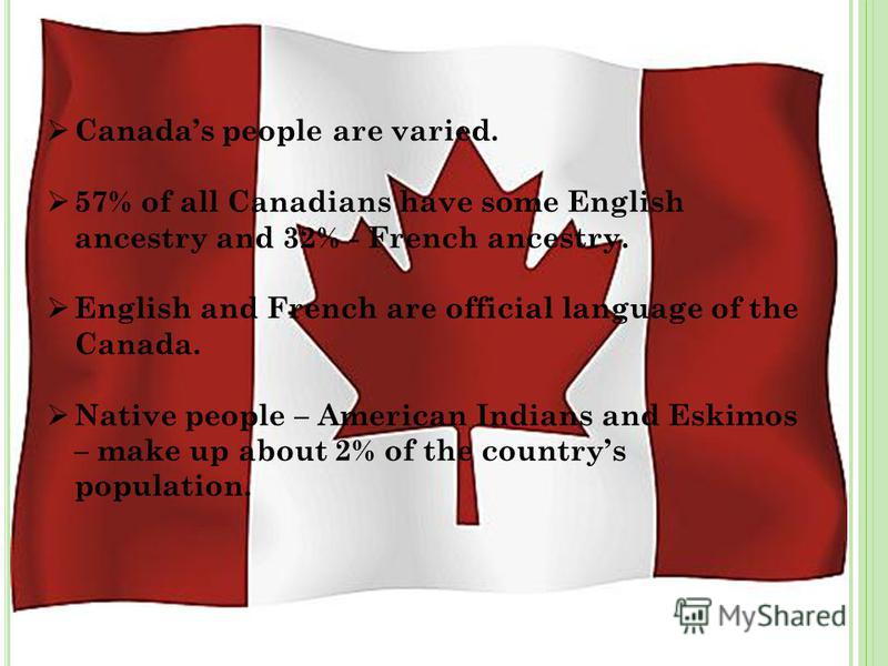 Canadas people are varied. 57% of all Canadians have some English ancestry and 32% - French ancestry. English and French are official language of the Canada. Native people – American Indians and Eskimos – make up about 2% of the countrys population.