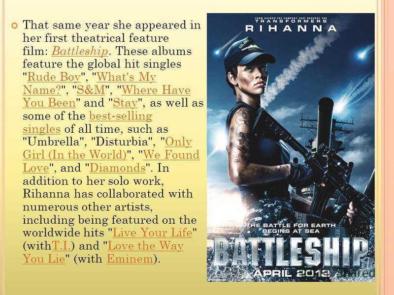 That same year she appeared in her first theatrical feature film: Battleship. These albums feature the global hit singles
