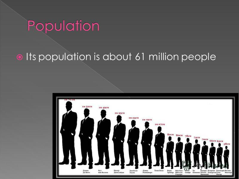 Its population is about 61 million people