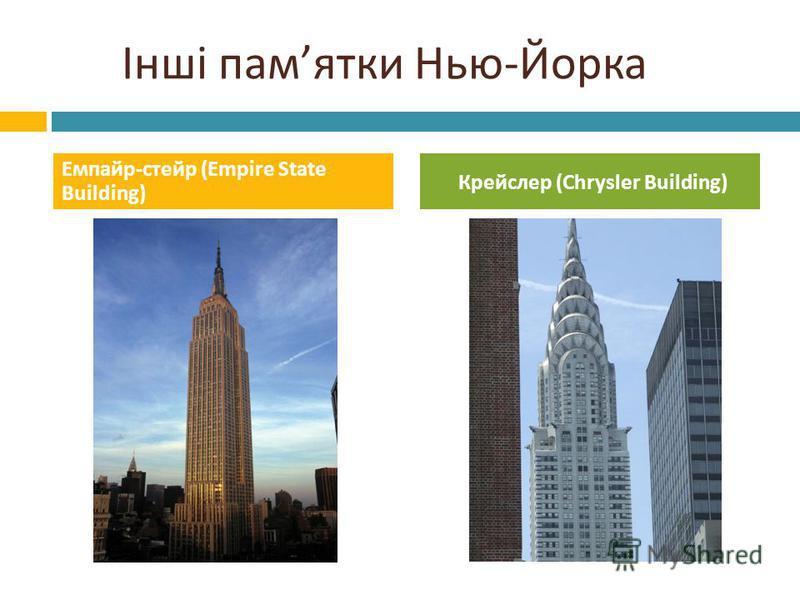 Інші пам ятки Нью - Йорка Емпайр - стейр (Empire State Building) Крейслер (Chrysler Building)