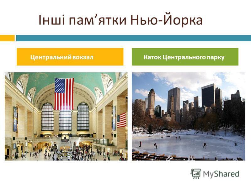 Інші пам ятки Нью - Йорка Центральний вокзал Каток Центрального парку