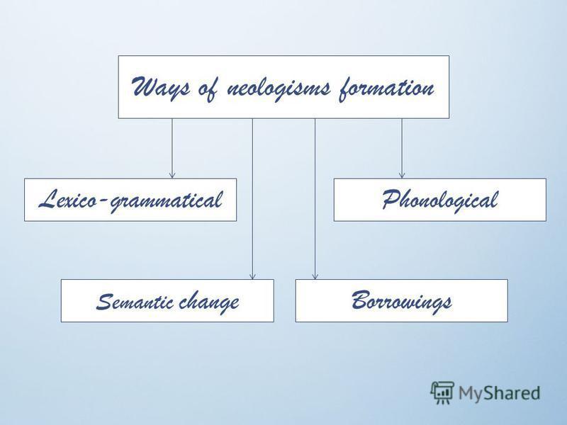 Ways of neologisms formation Lexico-grammaticalPhonological Semantic changeBorrowings