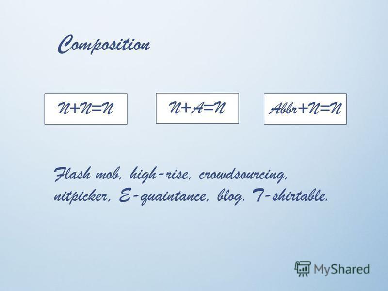 Composition N+N=N N+A=N Abbr+N=N Flash mob, high-rise, crowdsourcing, nitpicker, E-quaintance, blog, T-shirtable.
