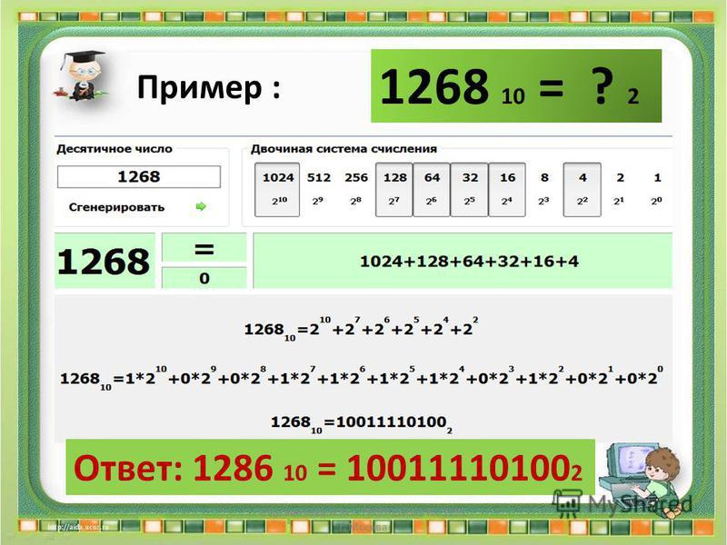 1268 10 = ? 2 Пример : Ответ: 1286 10 = 10011110100 2 Сергеенкова И.М. - ГБОУ Школа 1191 г. Москва