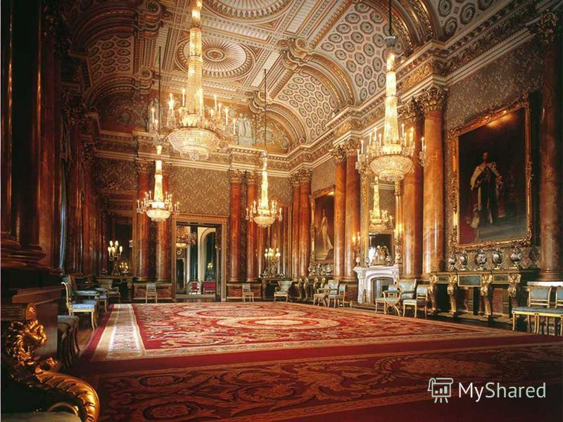 This is the Queens home. It was built in 1703. There is a great collection of paintings Buckingham Palace is the best known royal palace in the world. It was build in 1703. When Her Majesty the Queen is in the residence, the Royal Standard flutters o
