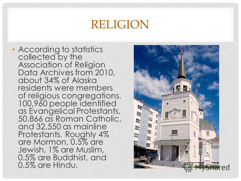 RELIGION According to statistics collected by the Association of Religion Data Archives from 2010, about 34% of Alaska residents were members of religious congregations. 100,960 people identified as Evangelical Protestants, 50,866 as Roman Catholic,