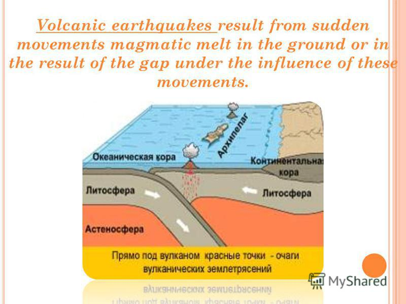 Volcanic earthquakes result from sudden movements magmatic melt in the ground or in the result of the gap under the influence of these movements.