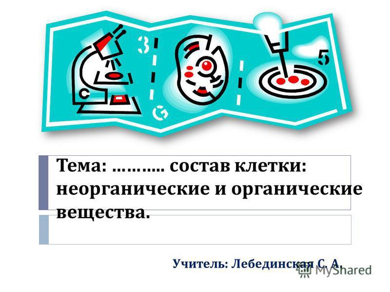 Тема : ……….. состав клетки : неорганические и органические вещества. Учитель : Лебединская С. А.