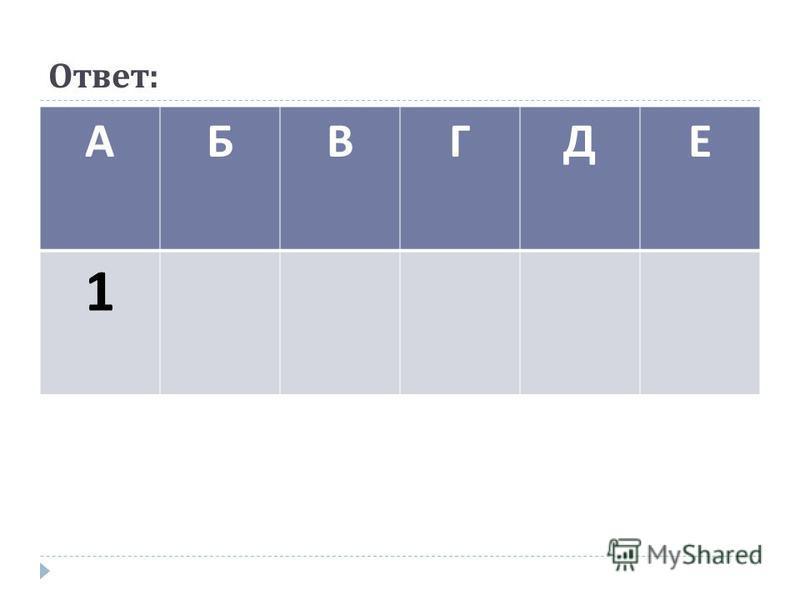 Ответ : АБВГДЕ 1