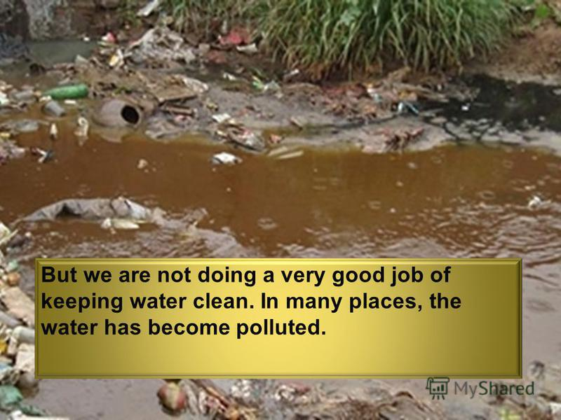 But we are not doing a very good job of keeping water clean. In many places, the water has become polluted.