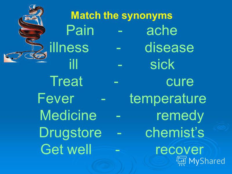 Match the synonyms Pain - ache illness - disease ill - sick Treat - cure Fever - temperature Medicine - remedy Drugstore - chemists Get well - recover