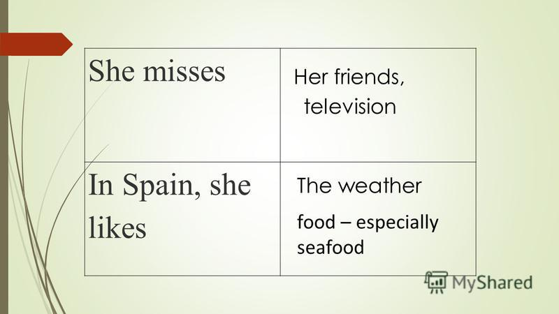 She misses In Spain, she likes Her friends, television The weather food – especially seafood