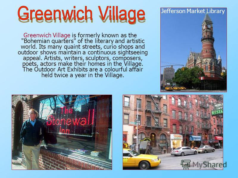 Greenwich Village is formerly known as the