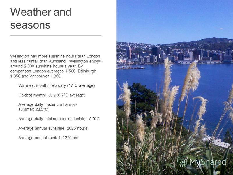 Weather and seasons Wellington has more sunshine hours than London and less rainfall than Auckland. Wellington enjoys around 2,000 sunshine hours a year. By comparison London averages 1,500, Edinburgh 1,350 and Vancouver 1,850. Warmest month: Februar