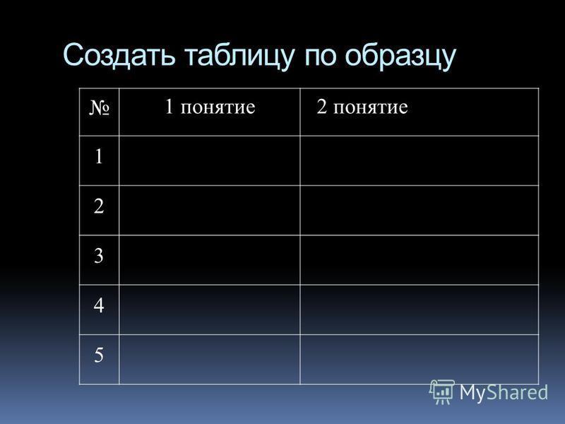 Создать таблицу по образцу 1 понятие 2 понятие 1 2 3 4 5