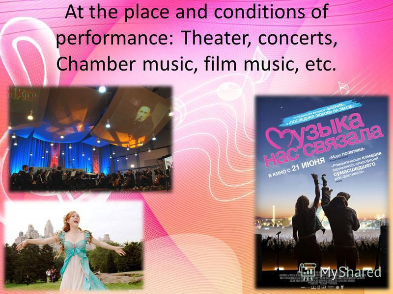 At the place and conditions of performance: Theater, concerts, Chamber music, film music, etc.