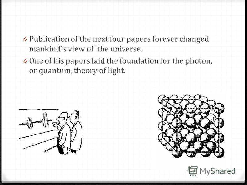 0 Publication of the next four papers forever changed mankind`s view of the universe. 0 One of his papers laid the foundation for the photon, or quantum, theory of light. Hjgfj,gh,kg,