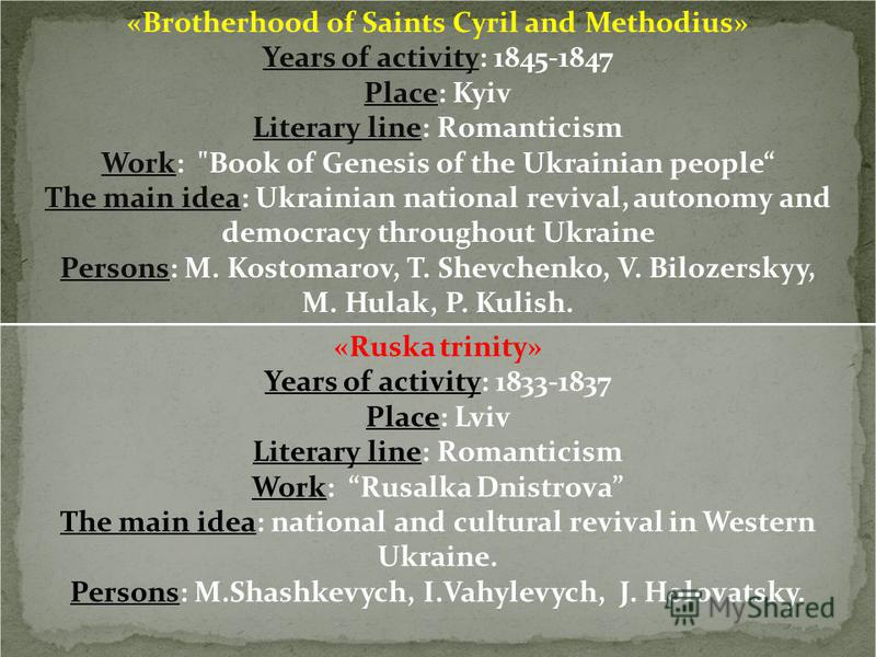 «Brotherhood of Saints Cyril and Methodius» Years of activity: 1845-1847 Place: Kyiv Literary line: Romanticism Work:
