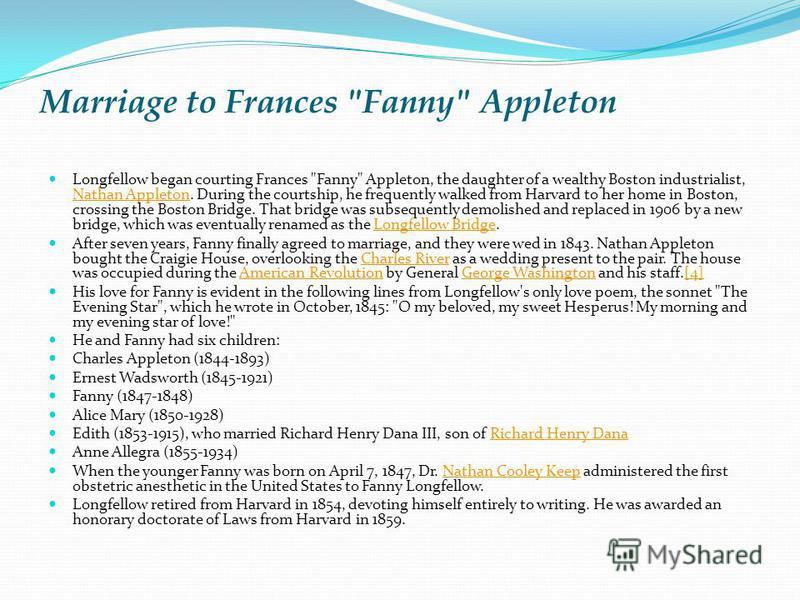 Marriage to Frances