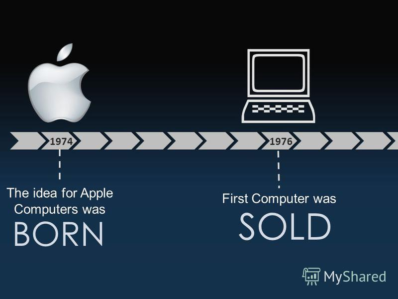 1974 The idea for Apple Computers was BORN 1976 First Computer was SOLD