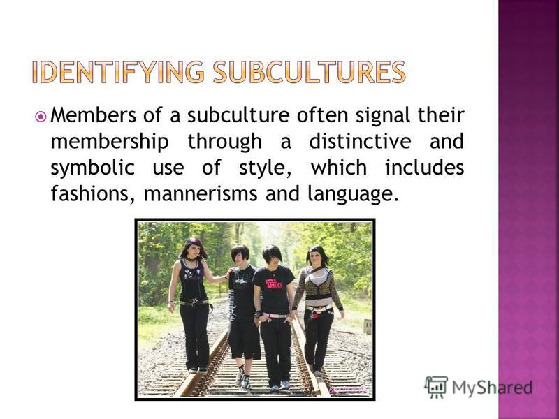 Members of a subculture often signal their membership through a distinctive and symbolic use of style, which includes fashions, mannerisms and language.