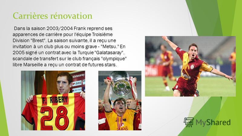 Carrières rénovation Dans la saison 2003/2004 Frank reprend ses apparences de carrière pour l'équipe Troisième Division