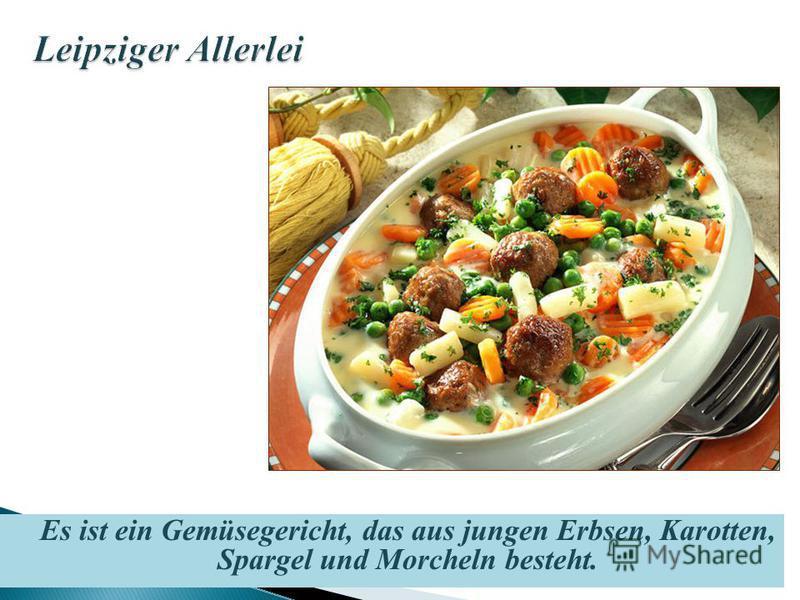 Es ist ein Gemüsegericht, das aus jungen Erbsen, Karotten, Spargel und Morcheln besteht.