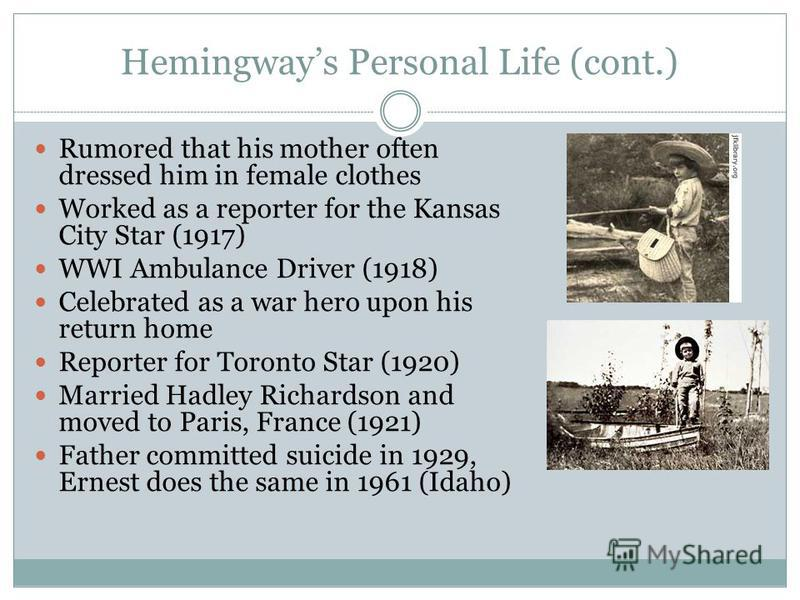 """a biography and own life relating stories of ernest hemingway The life of ernest hemingway """"toward the end of james j hutchisson's deftly written biography of ernest hemingway ernest hemingway: a life story."""