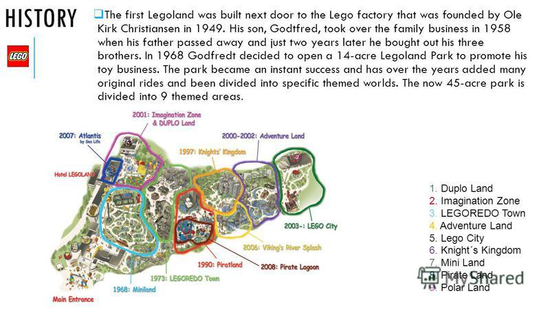HISTORY The first Legoland was built next door to the Lego factory that was founded by Ole Kirk Christiansen in 1949. His son, Godtfred, took over the family business in 1958 when his father passed away and just two years later he bought out his thre