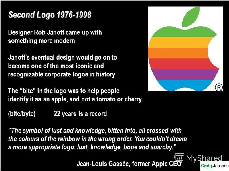 Second Logo 1976-1998 Designer Rob Janoff came up with something more modern Janoffs eventual design would go on to become one of the most iconic and recognizable corporate logos in history The bite in the logo was to help people identify it as an ap
