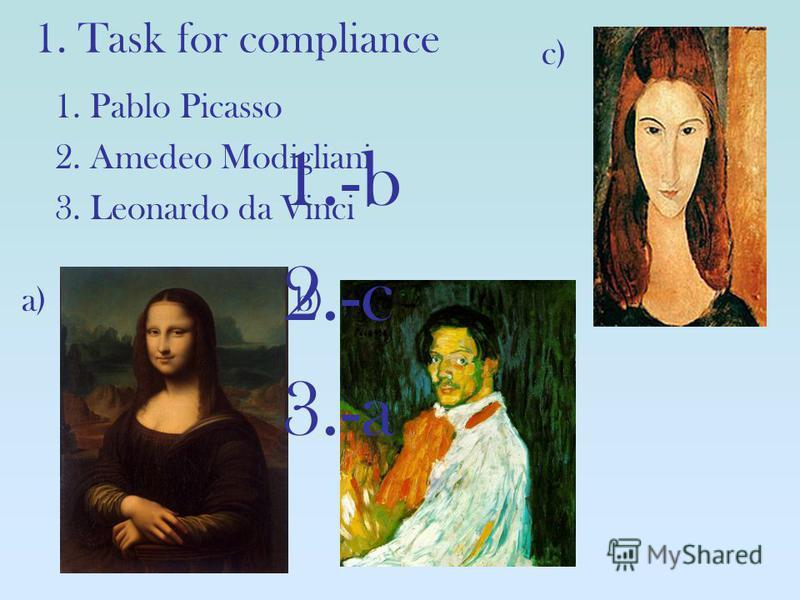 1. Task for compliance c) a)b) 1. Pablo Picasso 2. Amedeo Modigliani 3. Leonardo da Vinci 1.-b 2.-c 3.-a
